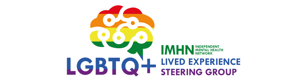 Logo for the Independent Mental Health Network LGBTQ+ Lived Experience Steering Group